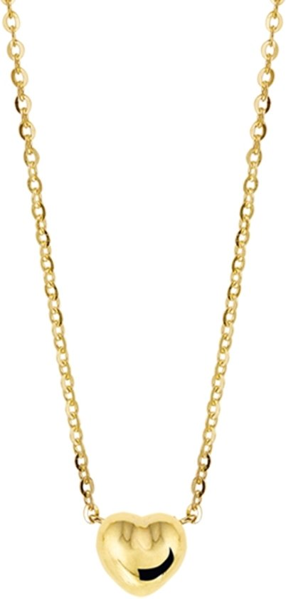 The Jewelry Collection Ketting Hart 1,0 mm 38 - 40 cm - Geelgoud