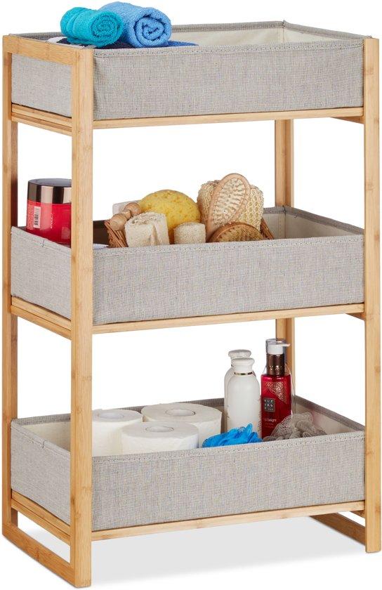 relaxdays rek met manden - badkamerrek - bamboe - houten rek - 3 etages - keukenrek