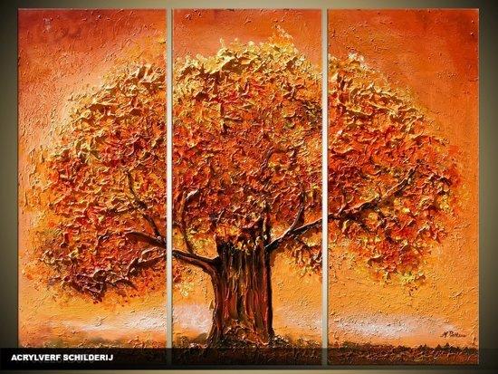 Acryl Schilderij Modern | Bruin, Oranje | 120x80cm 3Luik Handgeschilderd