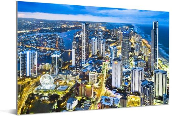 De Gold Coast bij schemering in het Australische Queensland Aluminium 180x120 cm - Foto print op Aluminium (metaal wanddecoratie) XXL / Groot formaat!