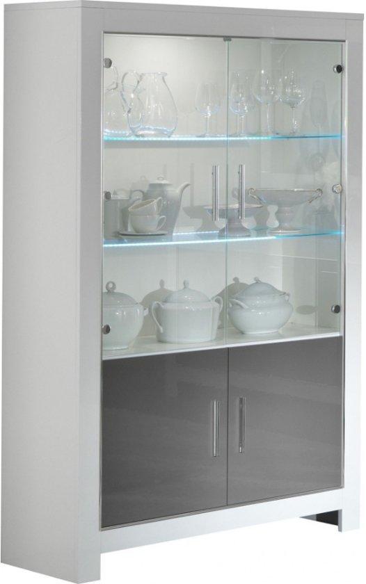 Modena vitrine- glaskast 2 deurs in witte en grijze hoogglanslak