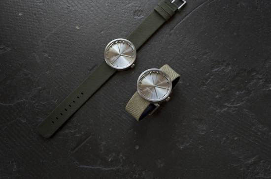 LEFF amsterdam tube watch D38 steel / green nylon-leather strap