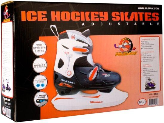 Nijdam 0026 Junior IJshockeyschaats - Verstelbaar - Hardboot - Zwart/Wit - Maat 30-33
