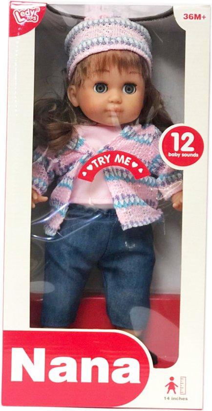 Nana pratende pop 35CM - speelgoed pop met geluid en ogen kunnen dicht en open
