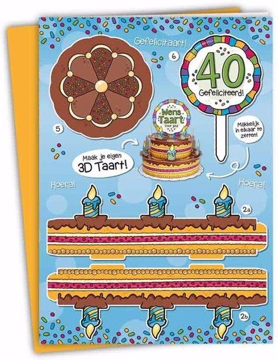 Verwonderlijk bol.com | XXL 3D taart kaart 40 jaar - verjaardagskaart CF-27