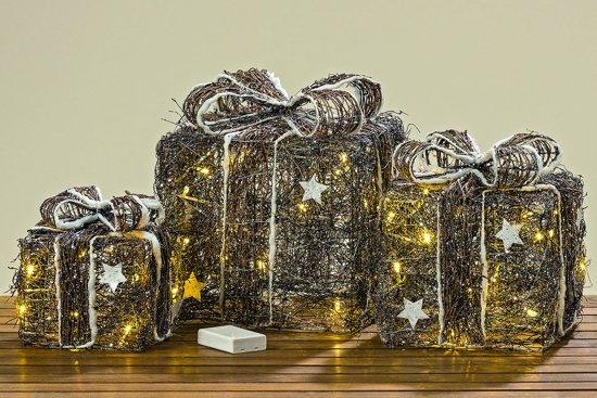 Bol.com cadeau decoratie 3 set bruin sfeer 30 cm led
