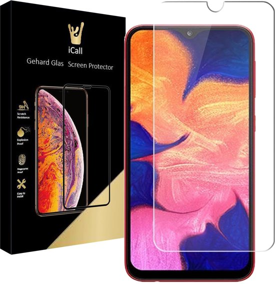 Samsung Galaxy A10 Screenprotector - Tempered Glass Gehard Glas - Case Friendly - iCall