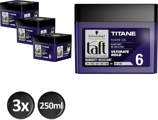 Schwarzkopf Taft Titane Power Haargel Cubus 250 ml - 3 stuks - Voordeelverpakking