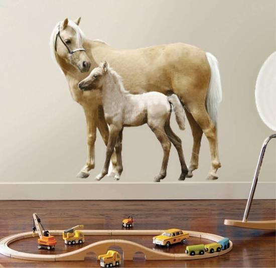 Paarden Sticker Muur.Bol Com Muursticker Vinyl Paard En Veulen 65 X 70 Cm Multi