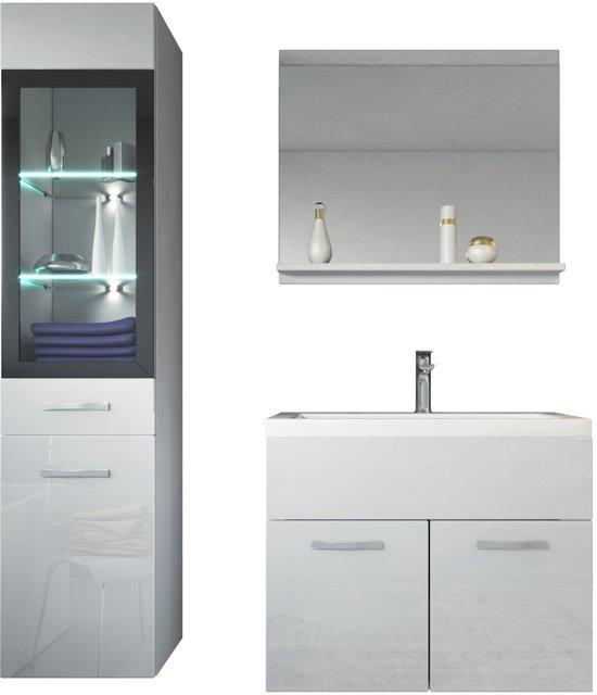 badplaats badkamermeubel rio 60cm wit met spiegel en led verlichting