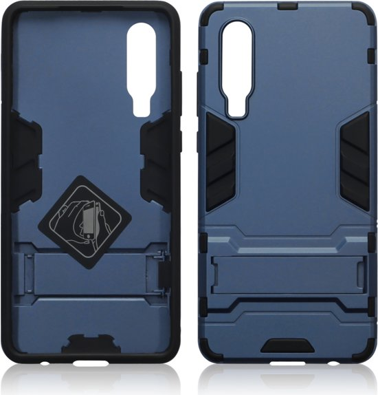 Qubits - Double Armor Layer hoes met stand - Huawei P30 - Blauw