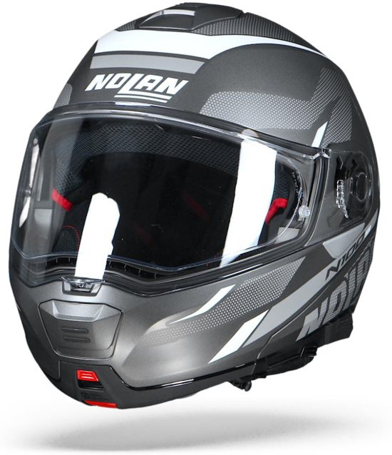 Nolan N100-5 Lumière 038 Grijs Wit Systeemhelm - Motorhelm - Maat M