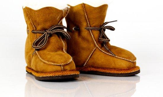 Bernardino baby slof wol/leer cognac Unisex  - Maat 20