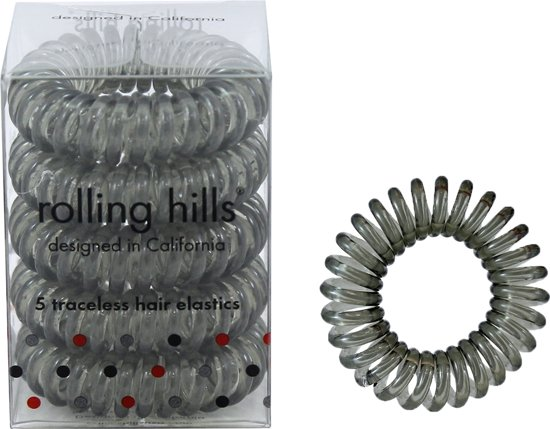 Rolling Hills 5 traceless hair elastics transparent grey