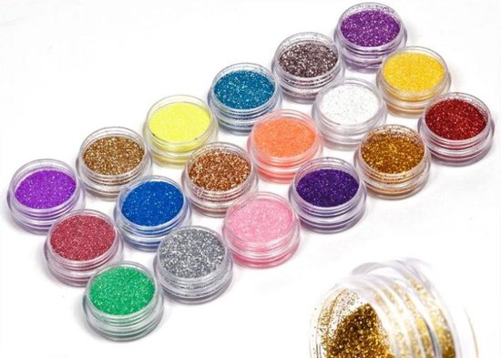 18-Delige Acrylpoeder Glitter Set - Voor Acryl Nagels Nailt Art