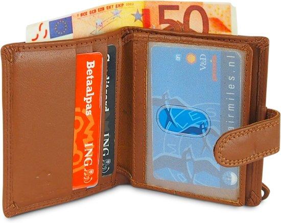 b165df89592 Kleine Portemonnee - Creditcardhouder - Pasjesportemonnee met Muntgeld en  Briefgeld - Leer - Met Drukknoopsluiting ...