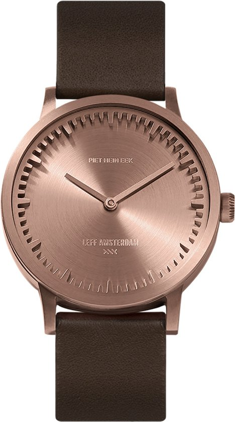 Tube watch T32 rose gold / brown leather strap