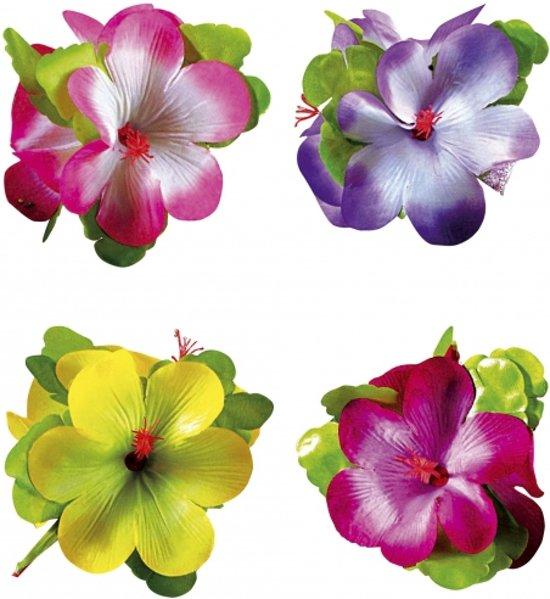 Hawaii haarclip met grote bloem  Paars/wit