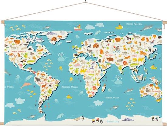 Kinder wereldkaart op schoolplaat zoekplaatje 60x40 cm platte latten - Textielposter