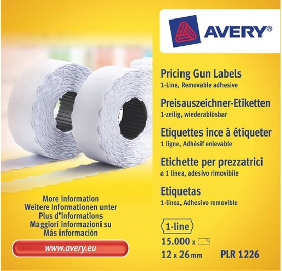 Prijstangetiketten Avery non-permanent 26x12mm wit 10 rol in doos