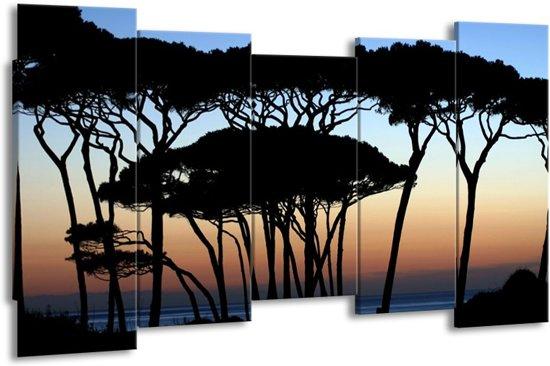 Canvas schilderij Bomen | Zwart, Blauw | 150x80cm 5Luik