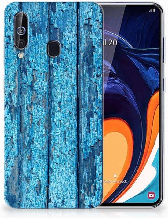 Samsung Galaxy A60 Bumper Hoesje Blauw Wood