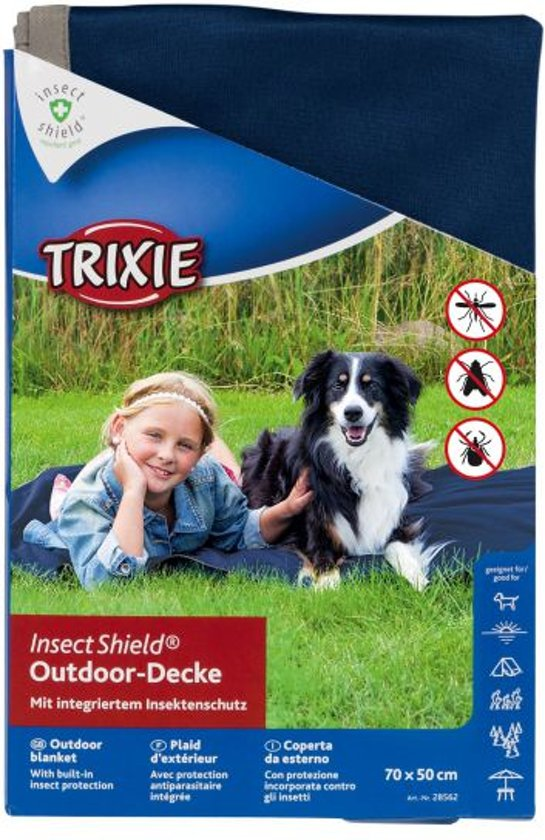 Trixie insect shield outdoor deken donkerblauw 70x50 cm