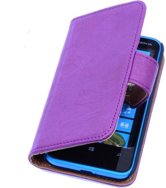 BestCases Stand Lila Luxe Echt Lederen Book Wallet Hoesje Nokia Lumia 900 in Zoeterwoude
