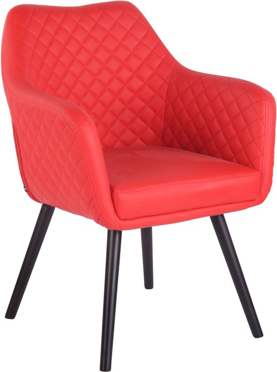 Clp Gent - Eetkamerstoel - Kunstleer - Rood - Kleur onderstel : Zwart