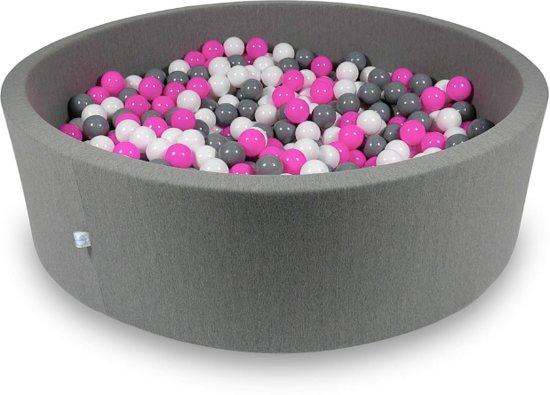 Ballenbak XXL - 700 ballen - 130 x 40 cm - ballenbad - rond donker grijs
