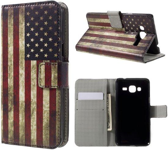 Shop4 - Samsung Galaxy J3 (2016) Hoesje - Wallet Case Vintage Amerikaanse Vlag in Roelshoek