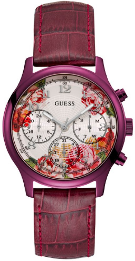GUESS Watches W1017L3 - Horloge - Dames - Staal - Paars -  ⌀ 40 mm