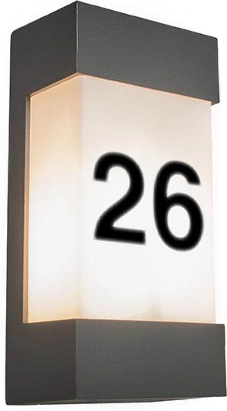 qazqa tide v huisnummer verlichting 1 lichts 14 cm antraciet