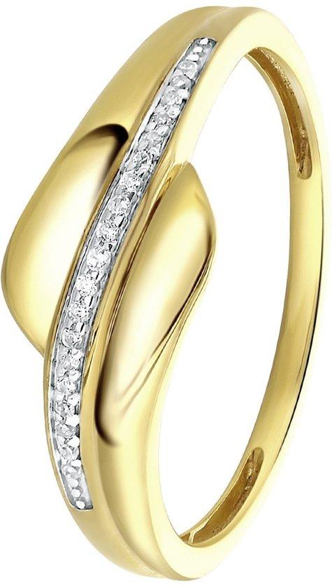 Lucardi Diamond - 14 Karaat geelgouden ring met diamant