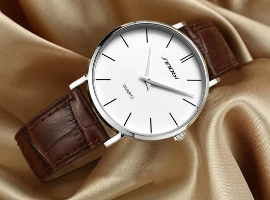 Slim horloge - luxe heren polshorloge – Quartz - strak design - stijlvol - witbruin - DisQounts