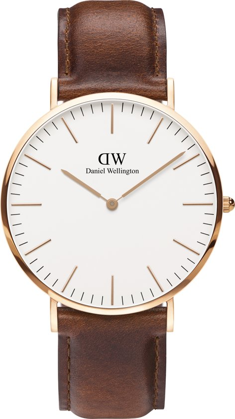 Daniel Wellington Classic St. Mawes DW00100006 - Horloge - Leer - Bruin - Ø 40 mm