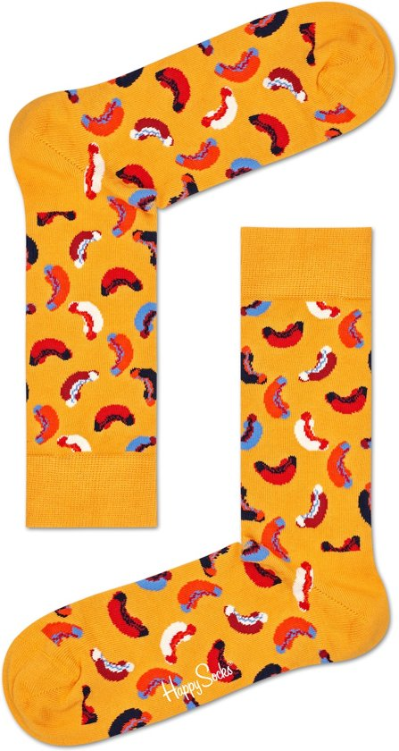 Happy Socks Hot Dog Junkfood Sokken - Geel - Maat 41-46