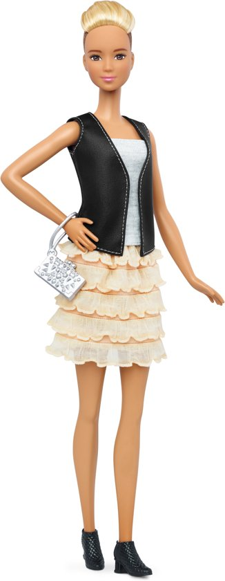 Barbie Fashionistas Leather & Ruffles - Barbiepop met 3 Outfits