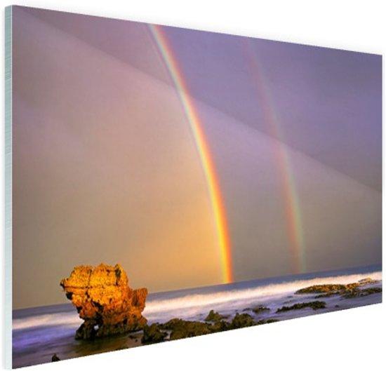 Dubbele regenboog op zee Glas 30x20 cm - klein - Foto print op Glas (Plexiglas wanddecoratie)