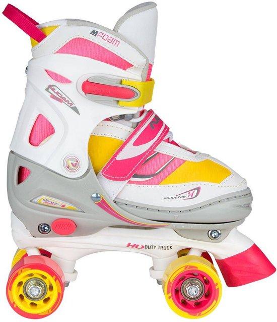 Nijdam Junior Rolschaatsen Meisjes Verstelbaar Semi-Softboot - Rave Skate - Fluorroze/Fluorgeel/Wit/Grijs/Antraciet - 30-33
