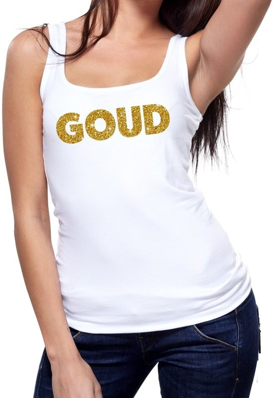 Goud glitter tekst tanktop / mouwloos shirt wit dames - dames singlet Goud S