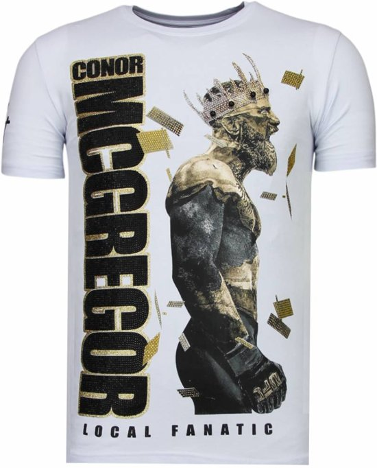 Local Fanatic Notorious King -Conor McGregor Rhinestone T-shirt - Wit - Maten: XXL