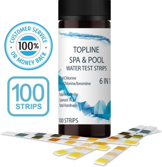 Zwembad en Jacuzzi teststrips 6 in 1 - 100 strips | - Alles in een Water Test strips voor Chloor, vrij chloor / broom, pH, alkaliteit, cyanuurzuur en totale hardheid - Waterteststrips voor hot tubs - Zwembad en Spa's