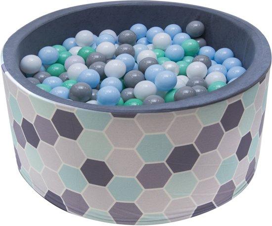 Ballenbak | Bijenraam incl.  200 witte, grijze groene en blauwe ballen