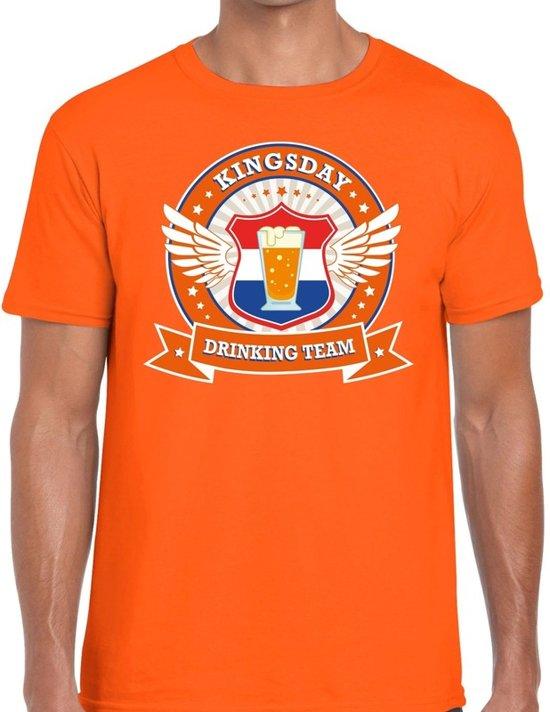 Oranje Kingsday drinking team t-shirt / t-shirt oranje heren -  Koningsdag kleding 2XL