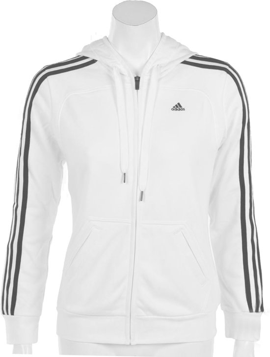 2c14d819523 adidas Essentials 3Stripes Hooded Jacket - Sporttrui - Dames - Maat XL -  Wit;Zwart