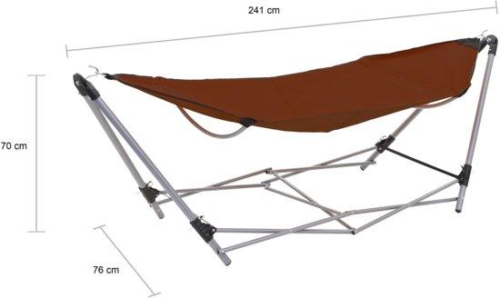 vidaXL Hangmat met inklapbare standaard bruin