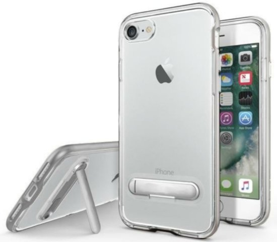 Kickstand hoesje voor Apple iPhone 8 Plus/7 Plus Transparant Zilver