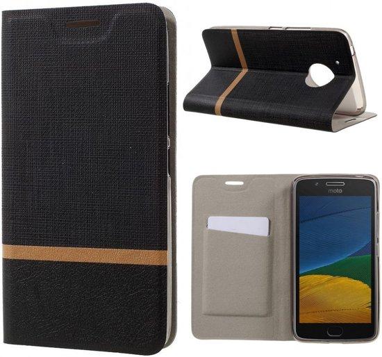 Motorola Moto G5S hoesje - Book Wallet Case - gestreept zwart in Uithoorn