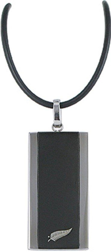 All Blacks 682077 zwart rubber collier met stalen hanger 50 cm